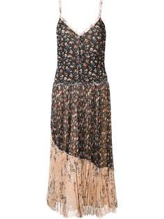 плиссированное платье-комбинация с цветочным рисунком Jason Wu