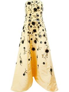 sequinned flowers strapless gown Oscar de la Renta