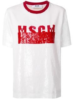 футболка с логотипом из пайеток MSGM