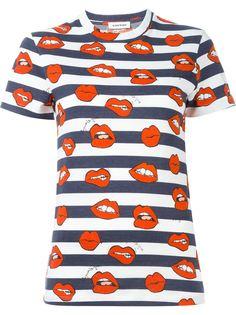 футболка в полоску с принтом губ Au Jour Le Jour
