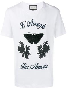 футболка с вышивкой бабочки  Gucci
