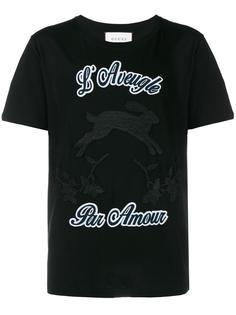 футболка с вышивкой  Gucci