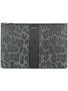 сумка для документов с леопардовым рисунком Dolce & Gabbana