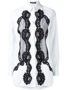 рубашка с кружевной отделкой Dolce & Gabbana