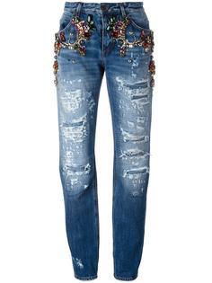 декорированные джинсы бойфренды с рваными деталями Dolce & Gabbana