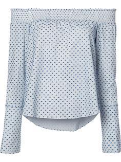 блузка с открытыми плечами и узором из точек Derek Lam 10 Crosby