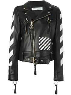 logo print biker jacket Off-White