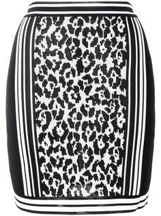 жаккардовая юбка с леопардовым рисунком Balmain