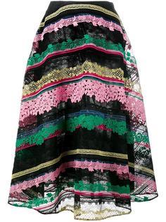 расклешенная полосатая юбка с вышивкой Valentino