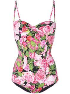 слитный купальник с принтом роз Dolce & Gabbana