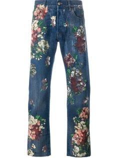 джинсы с цветочным принтом   Gucci