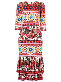 платье с узором Mambo и баской Dolce & Gabbana
