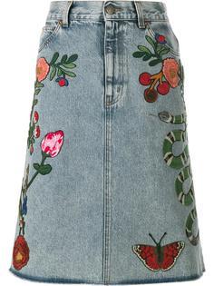 джинсовая юбка с вышивкой  Gucci
