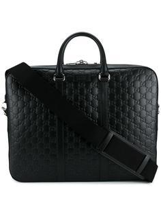 портфель с тиснеными логотипами Gucci