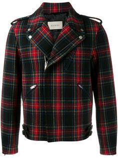клетчатая байкерская куртка Gucci