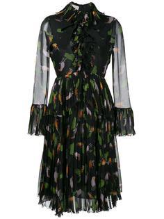 платье с оборками и узором Gucci