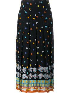 плиссированная юбка с узором Gucci