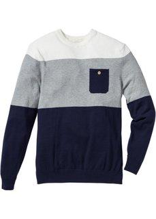 Пуловер Regular Fit (темно-синий в полоску) Bonprix