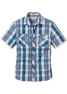 Рубашка Regular Fit с коротким рукавом (синий джинсовый в клетку) Bonprix
