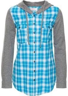 Клетчатая блуза с трикотажными рукавами и капюшоном (темно-синий/светло-серый в кле) Bonprix