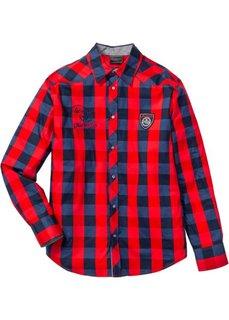 Клетчатая рубашка Regular Fit с длинным рукавом (красный/темно-синий в клетку) Bonprix