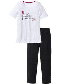 Пижама с легинсами 3/4 (черный/белый) Bonprix