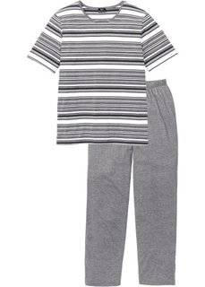 Пижама (серый меланж в полоску) Bonprix