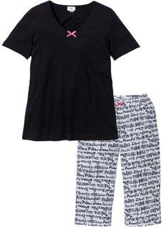 Пижама-капри (черный/белый с рисунком) Bonprix