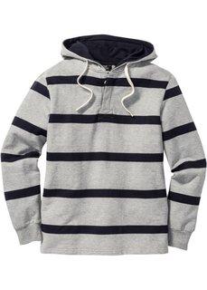 Свитшот Regular Fit с капюшоном (светло-серый меланж/темно-сини) Bonprix
