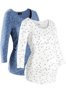 Для будущих мам: футболка из органического хлопка с принтом  (2 шт.) (синий джинсовый/белый с рисунк) Bonprix