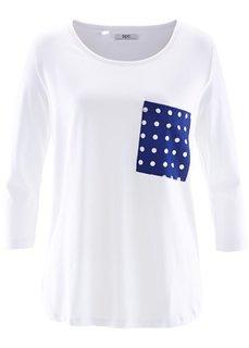 Футболка с контрастным карманом и рукавом 3/4 (розовый/белый) Bonprix