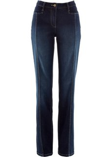 Стрейтчевые джинсы с регулируемым поясом (синий «потертый») Bonprix