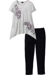 Пижама с легинсами 3/4 (серебристый матовый/черный с р) Bonprix