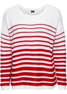 Пуловер с длинным рукавом (белый/индиго в полоску) Bonprix