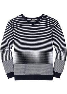 Пуловер Regular Fit с V-образным вырезом (темно-синий/белый в полоску) Bonprix