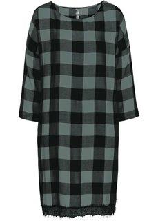 Платье с кружевной отделкой (черный/белый в клетку) Bonprix