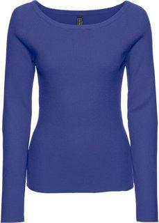 Пуловер в рубчик (черный/клубничный в полоску) Bonprix