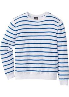 Пуловер Regular Fit в полоску (белый/лазурный в полоску) Bonprix