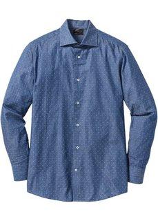 Деловая рубашка Regular Fit с минималистским узором (черный/белый с узором) Bonprix