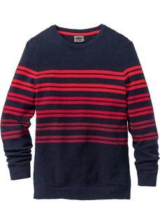 Пуловер Regular Fit в полоску (темно-синий/красный в полоску) Bonprix