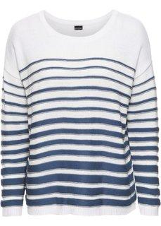 Пуловер с длинным рукавом (белый/красный в полоску) Bonprix