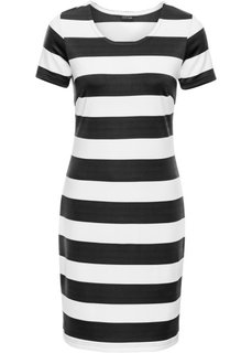 Трикотажное платье (белый/серо-коричневый в полоск) Bonprix
