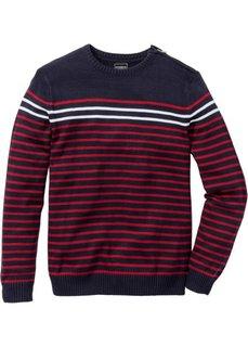Пуловер Slim Fit (белый/темно-синий в полоску) Bonprix
