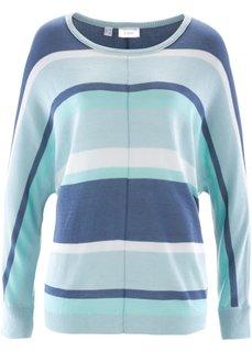Пуловер с длинным рукавом (мятный в полоску) Bonprix