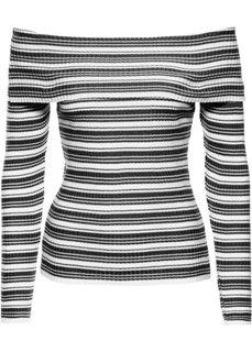 Пуловер с вырезом-кармен (белый/серо-коричневый в полоск) Bonprix