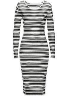 Вязаное платье (черный/красный в полоску) Bonprix
