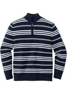 Пуловер Regular Fit с высоким воротом на молнии (белый/черный) Bonprix