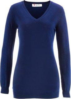 Удлиненный пуловер с длинным рукавом (цвет белой шерсти/темно-синий ) Bonprix