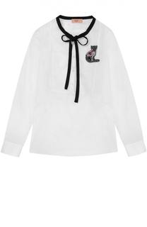 Блуза из хлопка с брошью No. 21