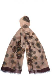 Платок с принтом из смеси кашемира и шелка Valentino